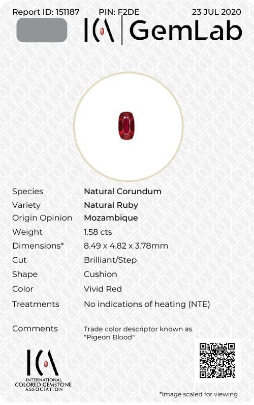 SL08-04 : 1.58ct Pigeons Blood Unheated Mozambique Ruby