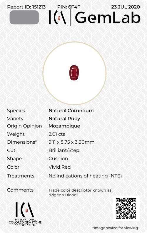SB31402-03 : 2.01ct Pigeons Blood Unheated Mozambique Ruby