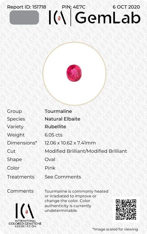 RL0971 : 6.05ct Vivid Pink Rubelite – 12x10mm