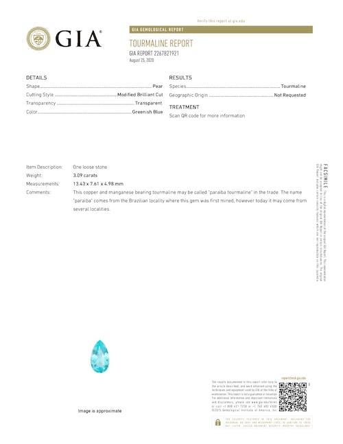 PA0240 : 3.09ct Neon Blue Paraiba