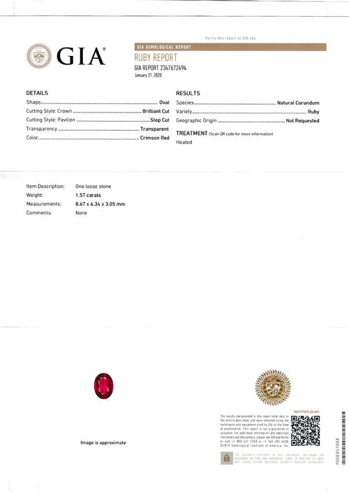 G47-14 : 1.57ct Mozambique Ruby – 8x6mm