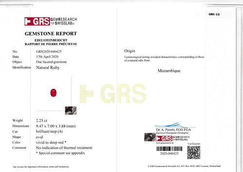 GBC-12 : 2.23ct Pigeons Blood Mozambique Ruby – 9x7mm