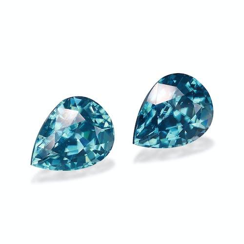 ZI0124 : 7.97ct Cambolite Blue Zircon  – Pair